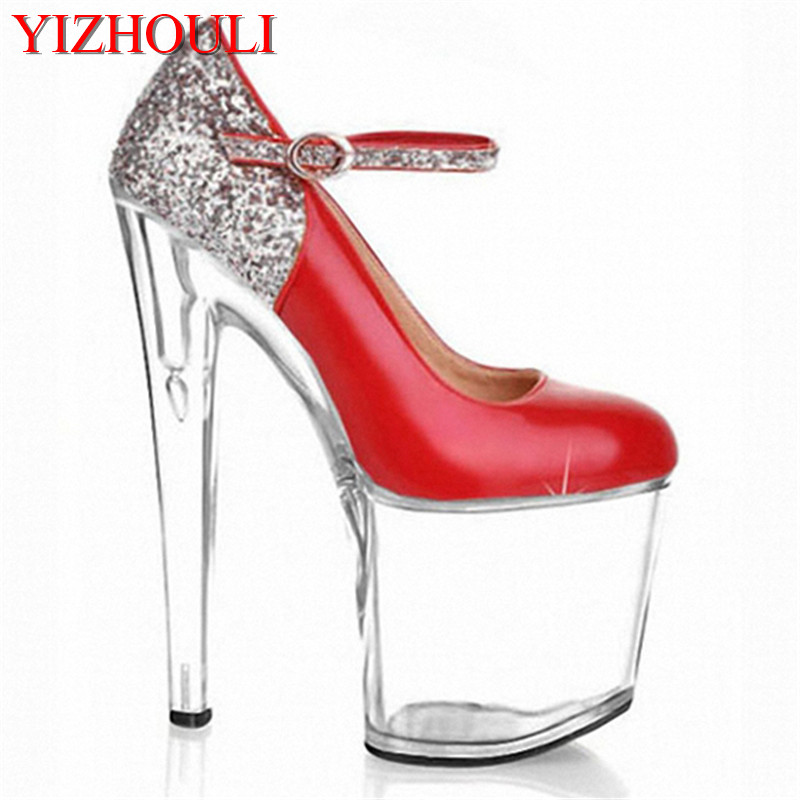 Hot Women The bride shoes 20cm clear wedding sexy heels silver glitter heels Fashion women pumps gold sexy clubbing high heels new 2018 women pumps party bling high heels gold silver fashion glitter heels women shoes sexy wedding shoes
