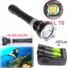 Underwater 100m 2300LM  CREE XM-L T6 LED Scuba Diving Flashlight Lamp Torch 18650 5 Mode +2x18650 battery + Smart Charger цена