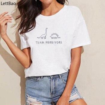 Team Herbivore T Shirt Women Vegan Tshirt Women Summer 2019 Hippie Vegetarian vogue T-shirt Dinosaur Graphic Tees simple style