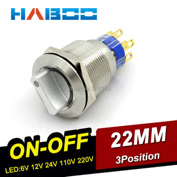Interruptor selector de 5 unids/lote dia.19mm con LED, interruptor selector de 3 posiciones con cabeza de anillo, operación de encendido-apagado de acero inoxidable 304 2NO + 2NC