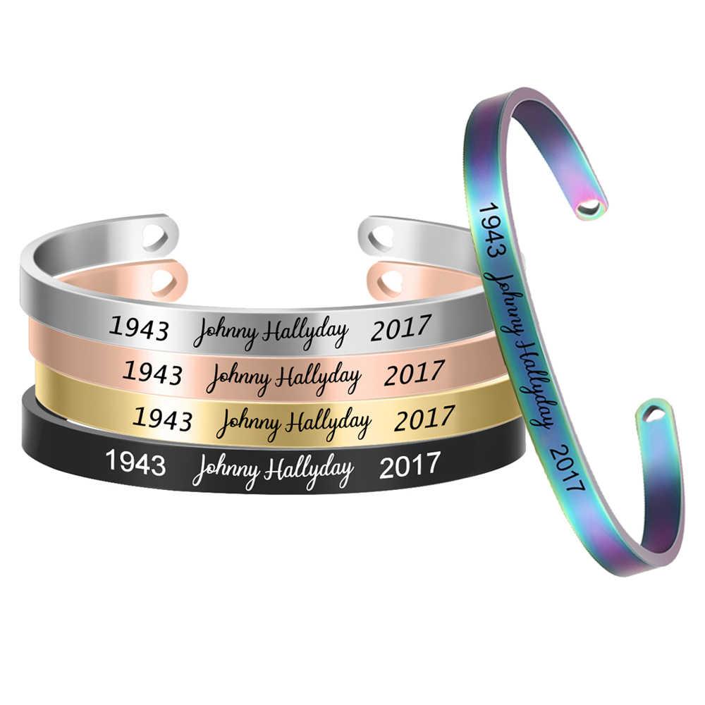 Johnny hallyday niestandardowa bransoletka z imieniem ze stali nierdzewnej mankiet Bangle nazwa własna płyta dla kobiet mężczyzn biżuteria SL-068