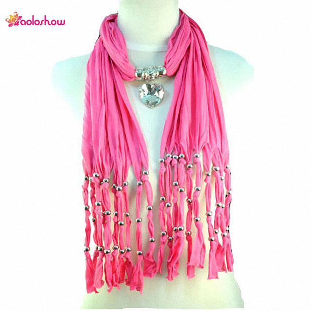 Aoloshow fashion pink color jewelry scarf necklace pendant charm aoloshow fashion pink color jewelry scarf necklace pendant charm crystal heart pendant jewelry scarves necklace nl aloadofball Choice Image