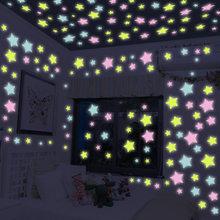 50 unids/bolsa de pegatinas luminosas coloridas para el hogar, pegatinas de pared de estrellas que brillan en la oscuridad para niños, pegatinas fluorescentes para habitaciones de bebés, 4,2 cm
