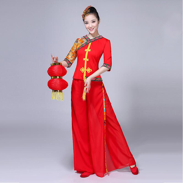 women classic yangko dance wear red lantern dance dress ancient chinese national clothes chinese. Black Bedroom Furniture Sets. Home Design Ideas