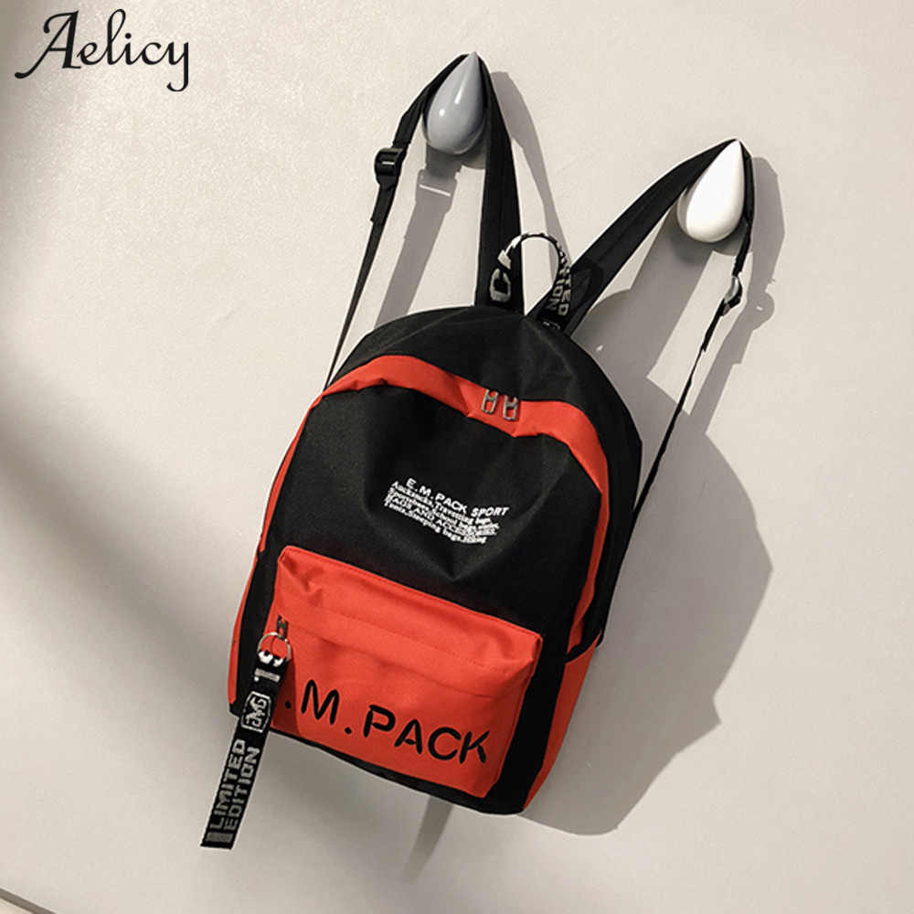ac6f86121e3d Detail Feedback Questions about Aelicy Nylon Women Backpack 2018 Fashion  Korean Fashion Neutral School Rucksack Bag Letter High Quality Mini  Backpacks For ...