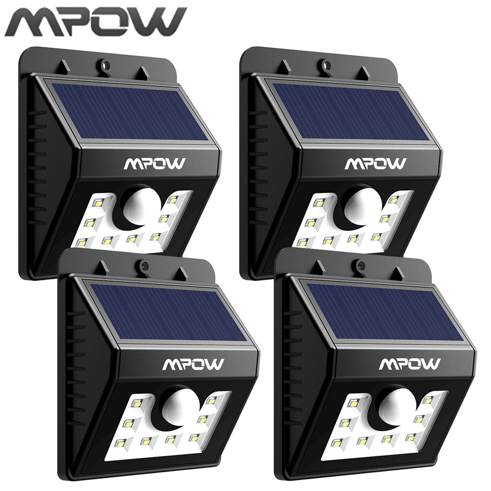 mpow solar light 8 led lampion security motion sensor light garden lamp three intelligent mode. Black Bedroom Furniture Sets. Home Design Ideas