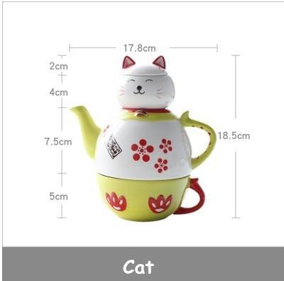 Ceramic Tea set suit Cute cartoon animals shaped Cup Kit Fortune Cat teapot Ceramic Cup Mug Set tableware HJ79.5