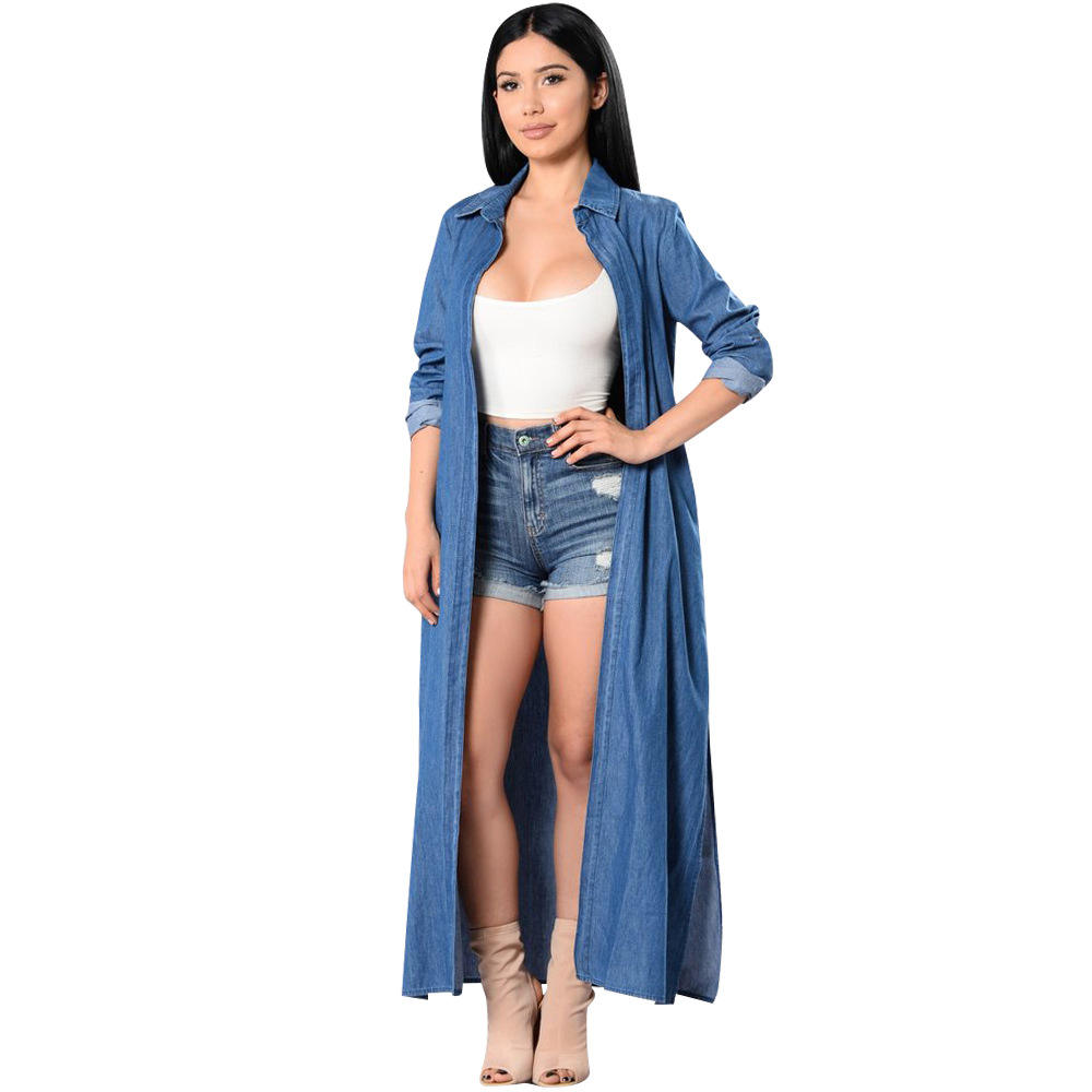 Casual fashion Open Front Long Sleeve Longline Long Maxi Denim Jean Cover Up Blouse Shirt Duster   Trench   Coat Top Blue Long