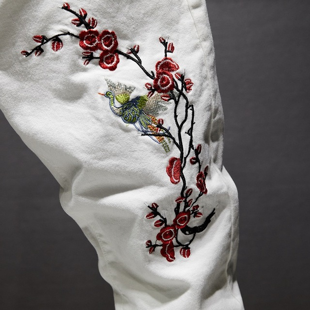 Slim Stretchable White Pants With Embroidery  for Men 2