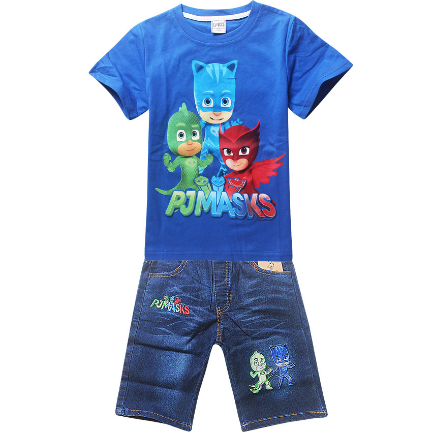 2018   new  summer cotton children's clothing children baby boy shirt short-sleeved  jeans T-shirt set cartoon pattern new hot sale 2016 korean style boy autumn and spring baby boy short sleeve t shirt children fashion tees t shirt ages