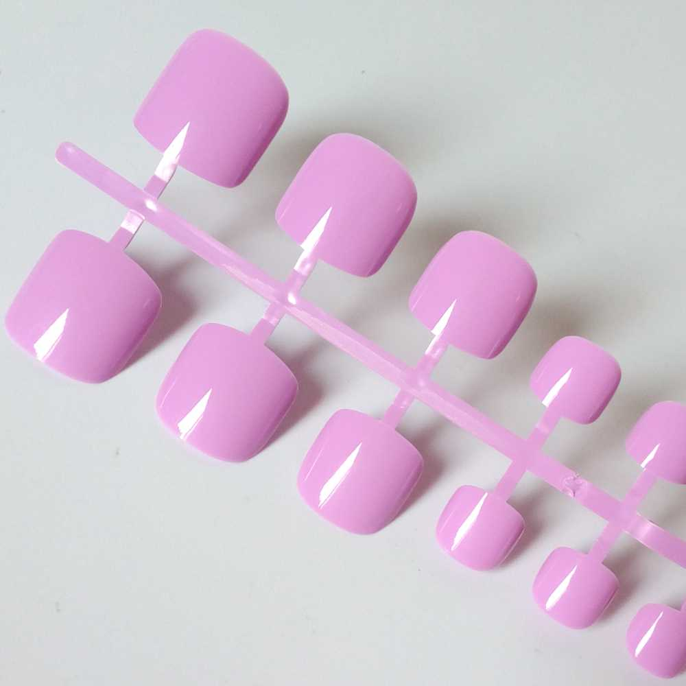 24 sztuk akrylowe fałszywe paznokieć fioletowy fioletowy fałszywe Toe paznokci cukierki Nail Art pełna pokrywa DIY Salon Manicure paznokcie 316