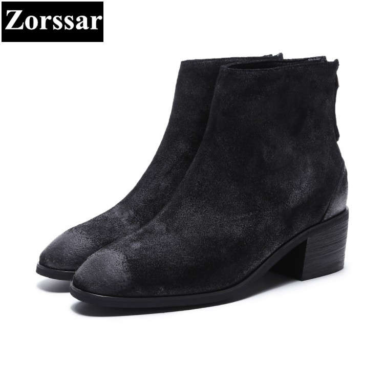 {Zorssar} 2018 NEW fashion women Chelsea boots Suede Round Toe High heels womens ankle boots shoes Autumn winter women shoes zorssar brands 2018 new arrival fashion women shoes thick heel zipper ankle chelsea boots square toe high heels womens boots