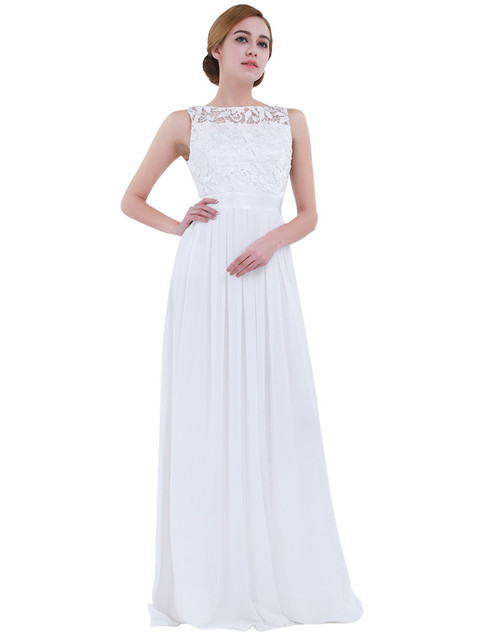 TiaoBug Women Ladies Empire Waist Embroidered Chiffon Wedding Bridesmaid Dress Long Evening Prom Gown