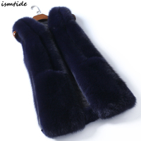 Fashion Faux Fur Coats Faux Fur Vest 2018 New Winter Women Sleeveless Long Fox Fur Jacket White Red Veste Femme Fur Vests S 3XL