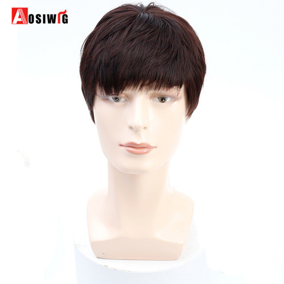 AOSIWIG Men Wig Short Straight Synthetic Natural Full Wigs Heat Resistant Fake Hair