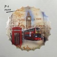 DL London Double BUS Bottle Cap Mural Painting Vintage Wall Plaque Club Home Party Tin Sign Pub Decor