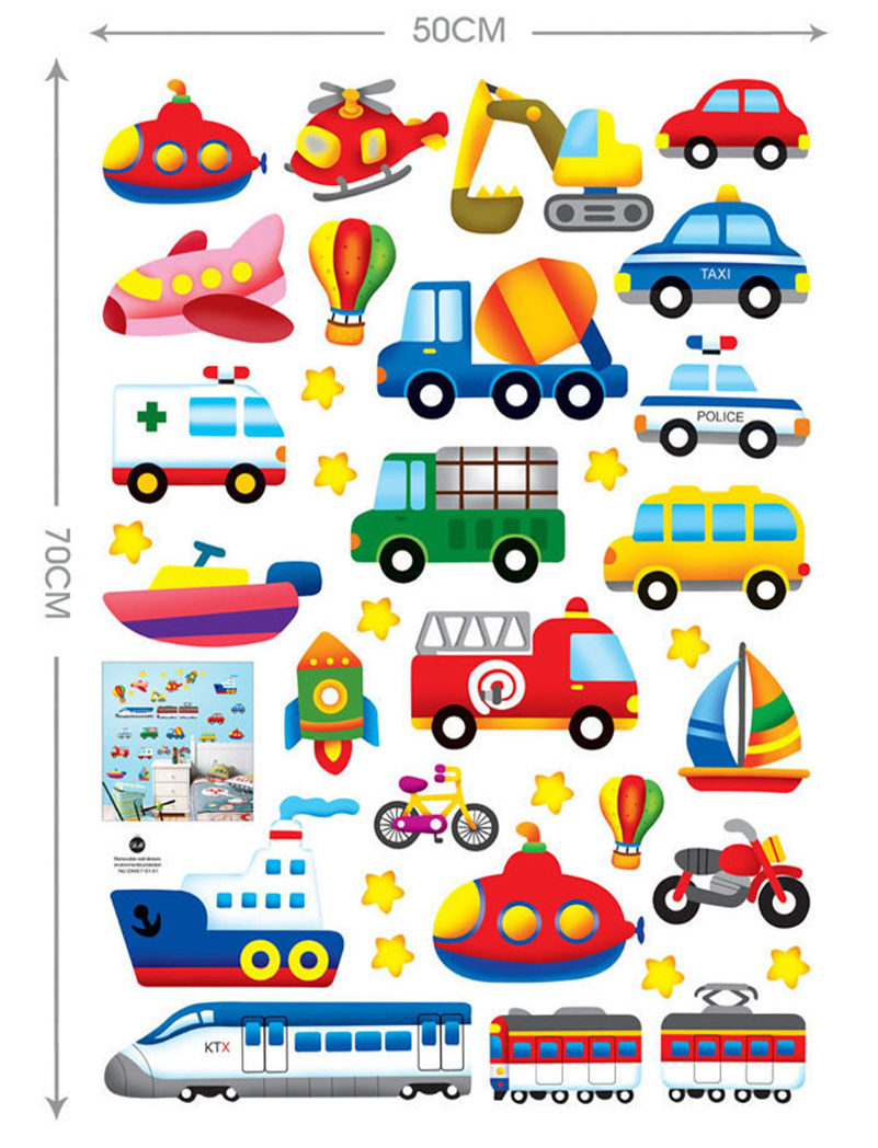 Sticker wall decal picture more detailed picture about fantasy fantasy vehicle wall stickers cartoon car aircraft ship decals for kid room diy art poster mural amipublicfo Images