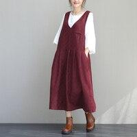 retro cotton linen v neck casual sleeveless tank full dress mori girl 2018 autumn New