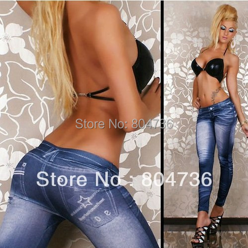 WOMEN JEANSTYLE DENIM SKINNY CHIC STRETCH FOOTLESS LEGGINGS PANTS BLUE