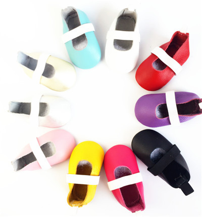100pairs/lot Genuine Leather Solid Toddler Baby Moccasins Girl Kids Mary Janes Ballet Shoes First Walker Toddler Soft dress Shoe