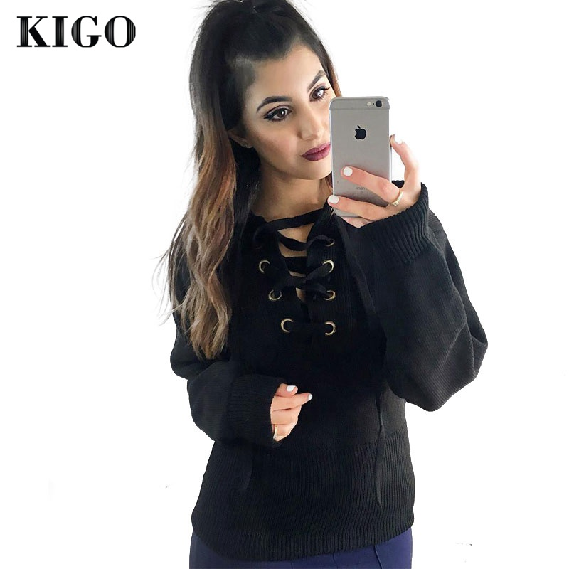 KIGO Autumn V Neck Long Sleeve Lace Up Winter Sweater Women 2016 Casual  Loose Top Knitwear 8a5c4990f6b5