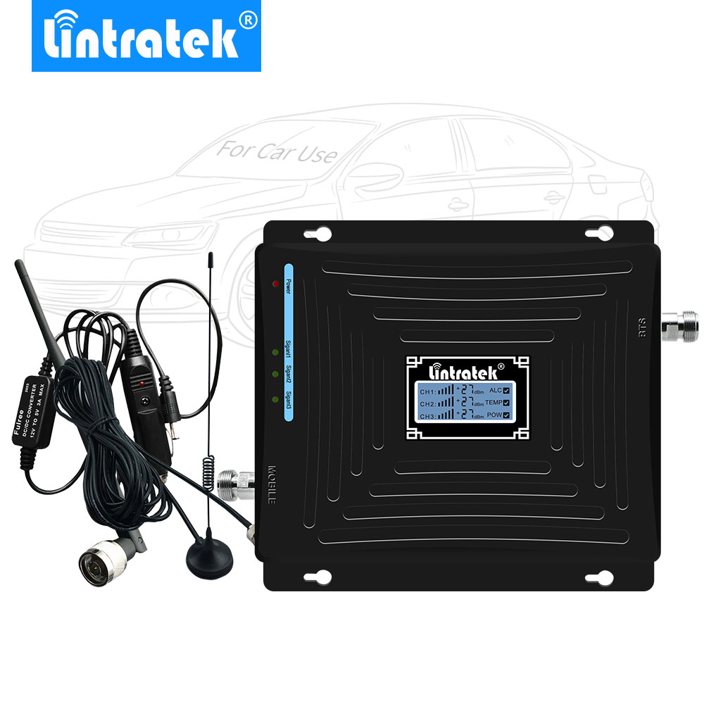 Lintratek Car Booster 2G 3G 4G Cell Phone Signal Booster 2100MHz 1800MHz 900MHz Triple Band Mobile Phone Signal Repeater Drive @