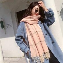 New Style Fashion Scarves Women 2018 Tartan Scarf Wool Keep Warm Winter Autumn Pink/Khaki Color Wrap Woolen Thickening Cappa