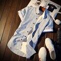 100% Хлопок Бизнес Стиль Лето 2017 Новый Стиль Мужские Рубашки Одежда Мужская Социальной Случайный Клетчатую Рубашку Мужчины Бренд C1081