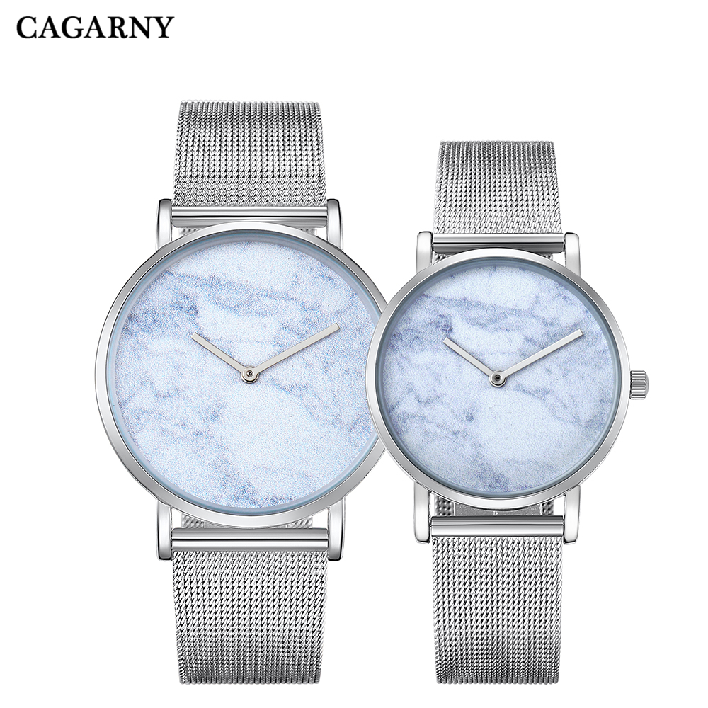 Cagarny Couple Lovers Watches Stainless Steel Mesh Bracelet Watch Women Ultra Thin DW Style Waterproof Men's Quartz Wristwatches