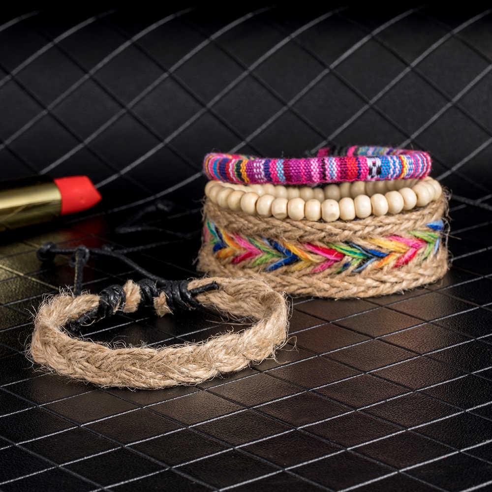 Multilayer Multimedia Boho Embroidery Cotton Handmade Friendship Bracelets 4 PC Set Colorful Beaded Hemp Rope Woven Bracelets