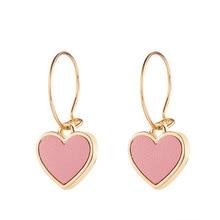 Фотография  2017 New Fashion Earrings Pink Peach-heart Leather Hoop Earrings For Woman Gift Jewelry Boucle D