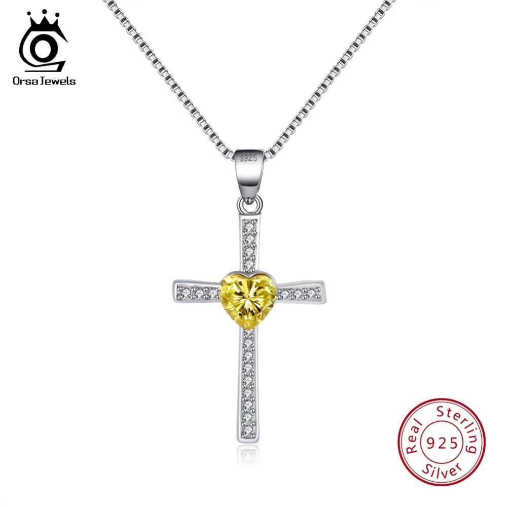 ORSA JEWELS 925 Sterling Silver Necklaces For Female Cross Shape Pendant Yellow Heart AAA Zircon Fashion Women Jewelry SN88-Y