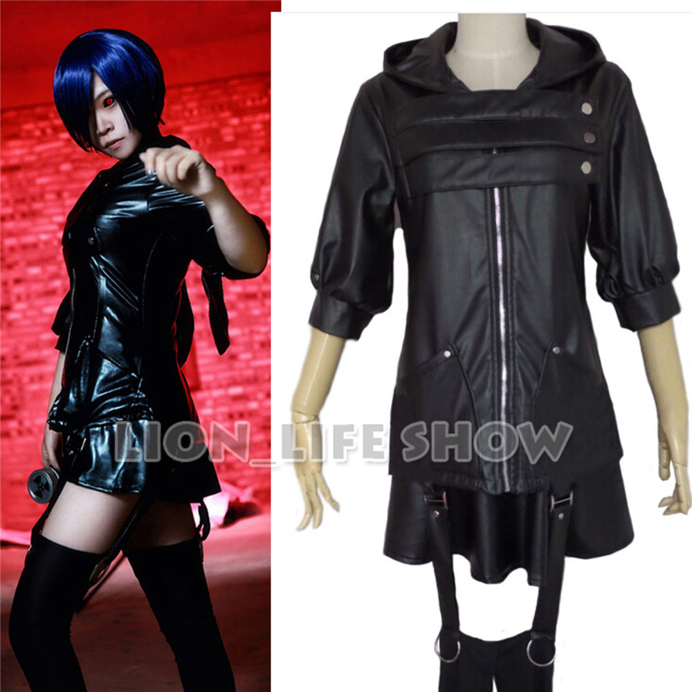 Tokyo Ghoul Touka Kirishima Battlefr Black Fight Anime Cosplay Costume Full Set
