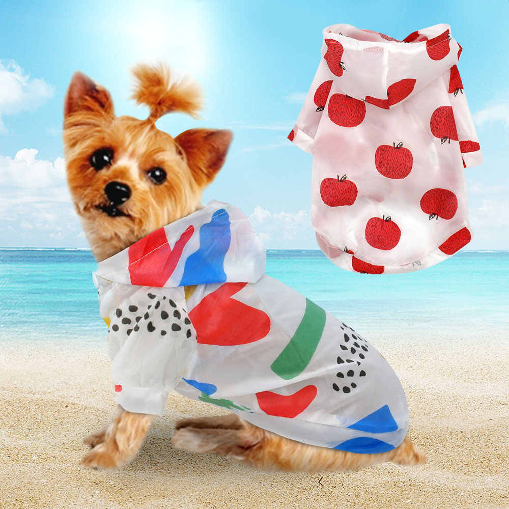 Cute Sun Protection Dog Clothes Summer Sunscreen Pet Puppy Chihuhua Clothing Printed Soft Dog Raincoat For Chihuahua Yorkie S-XL