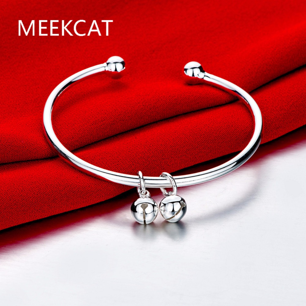 Chinese Traditional Silver Plated Bell Bracelet Ancient Good Luck Bangle for Adults Kids Vintage Jewellery Bijoux en Argent bracelet
