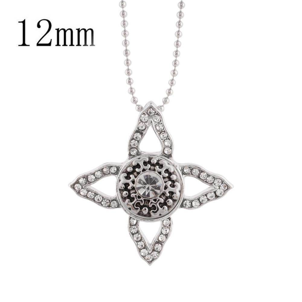 Partnerbeads Boho Clear Rhinstone Cross Pendant Necklace Women DIY Trendy Strand Necklaces Jewelry 12mm Snap Button Choker image