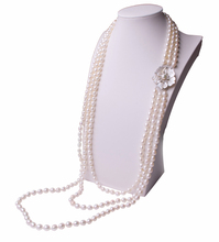 Women Gift word 925 Sterling silver real Natural freshwater pearl sweater chain long, necklace, multi layer, three layer shell,