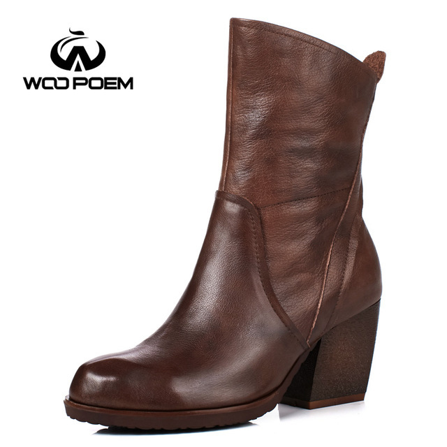2017 Genuine Leather Boots High Heel