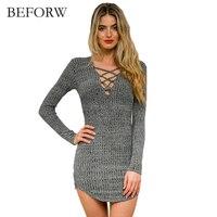 BEFORW Knitted Autumn Winter Sweater Elegant Dress Women Clothing Women Long Sleeve Sweater Ladies Girls Bandage
