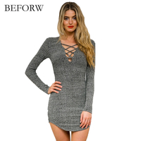 BEFORW Knitted Autumn Winter Sweater Elegant Dress Women Clothing Women Long Sleeve Sweater Ladies Girls Bandage