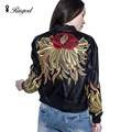 2017 New Fashion Autumn Winter Women Brand Flower Embroidery Leather Jackets PU Black Zippers Long Sleeve Motorcycle Coat