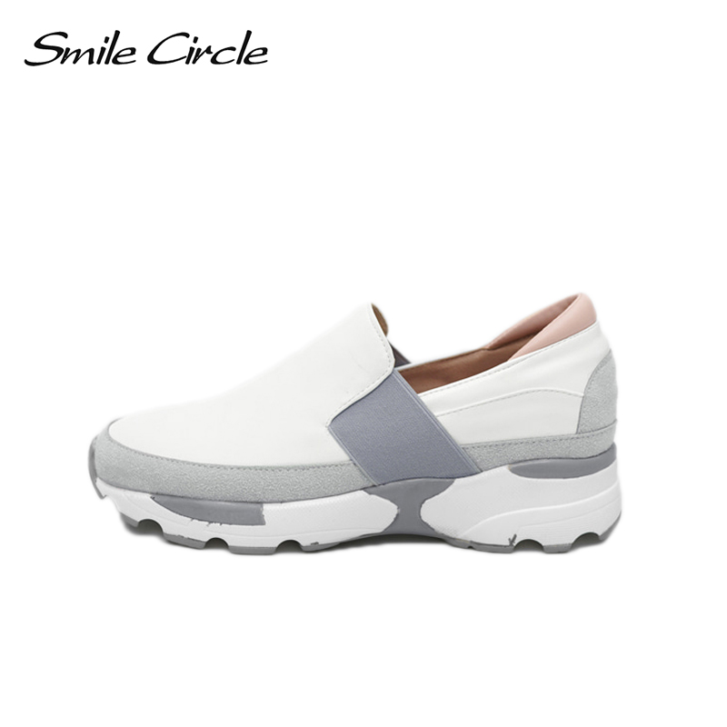 Smile Circle 2018 New Spring Women Shoes Fashion Round toe Sneakers Women Flat Casual Shoes Loafers Platform Sneakers A1B011