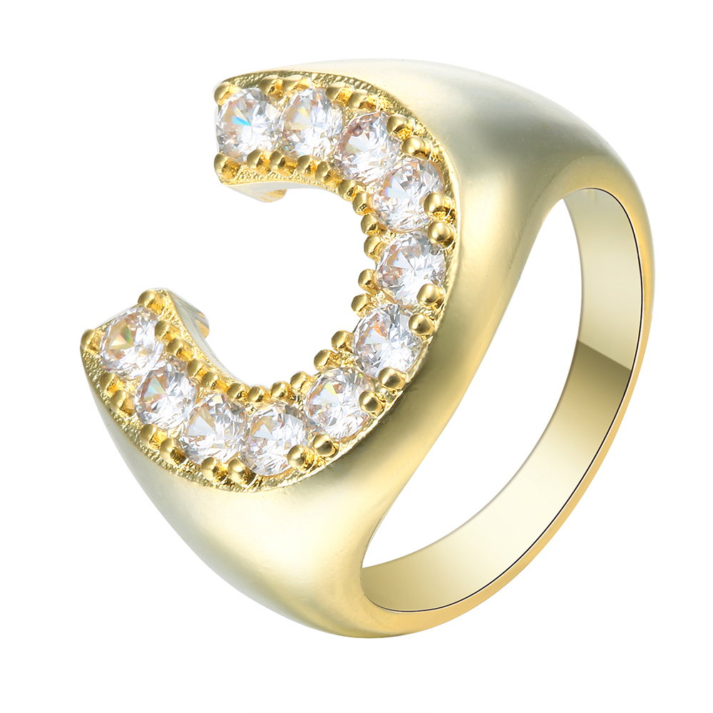 2017 promise Rings C design new jewelry high polished brass princess white Cubic Zircon finger Engagement Rings for women