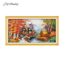 House of Dreams Cross Stitch Kit Joy Sunday Ctitch Stitch Printed Fabric Water Soluble Canvas DMC Embroidery Floss Home Decor(China)