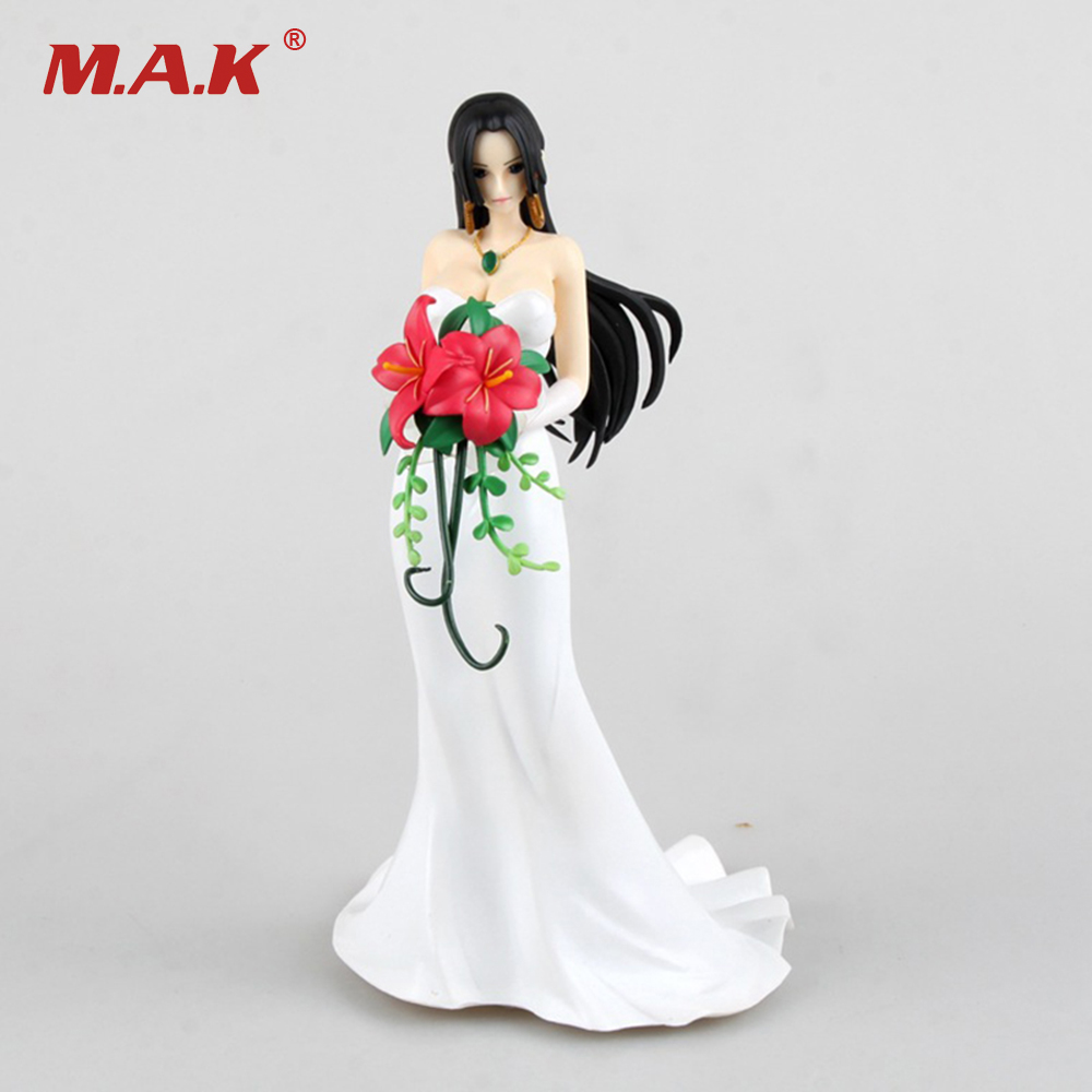 23CM PVC One Piece Boa Hancock Action Figures With White Wedding Dress Anime Figures Models Collections Toys Gifts Brinquedos lps pet shop toys rare black little cat blue eyes animal models patrulla canina action figures kids toys gift cat free shipping