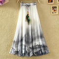 New 2017 Summer Women's Skirt Long Bohemian print chiffon Skirt Saia Femme Boho Beach SKirts for women