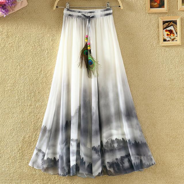 Novo 2017 das Mulheres do Verão Saia Longa Bohemian imprimir chiffon Skirt Saia Femme Boho Praia Saias para as mulheres