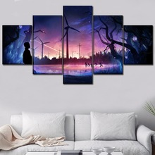 Modern Canvas HD Printed Painting Wall Art Framework 5 Piece Fantasy Landscape Wind Turbine Pictures Home Decor Living Room