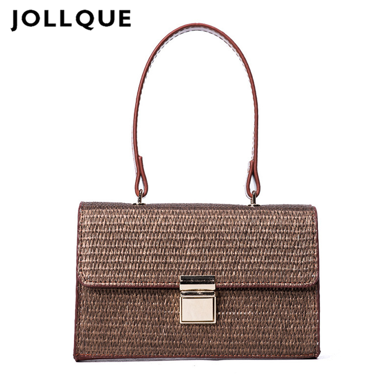 Jollque 2018 Beach Bag for Summer Big Straw Bags Handmade Tote Women Travel Handbags Luxury Designer Purse Bags handmade flower appliques straw woven bulk bags trendy summer styles beach travel tote bags women beatiful handbags