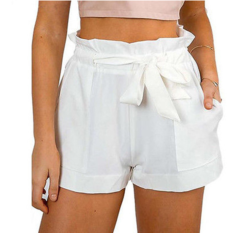 Summer New Style Cotton Shorts Bow High Waist Belt Shorts Solid Color Pocket Casual Women Shorts